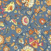 Bird and flower ornament pattern. Seamless vector floral texture - stock illustration