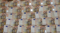 Wall of 50 euro bills Stock Footage