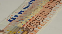 Large number of 50 euro bills Stock Footage