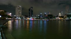 Timelapse of Boat Quay and River Traffic, SIngapore River at Night Stock Footage