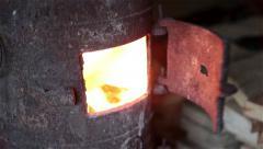 Burning stove Stock Footage