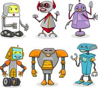 Stock Illustration of robots cartoon illustration set