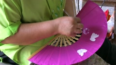 Umbrella factory in Bo Sang, Thailand Stock Footage