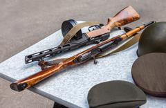 Samples of firearms during the Great Patriotic War Stock Photos