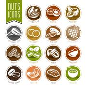Nuts icon set Stock Illustration