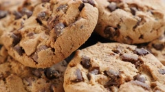 Chocolate chip cake cookies on the wooden table 4K 2160p UltraHD footage -Arr Stock Footage