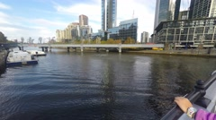Melbourne Southbank Skylines On Beautiful Sunny Day, Pan Up Stock Footage
