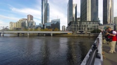 Melbourne Southbank Skylines On Beautiful Sunny Day, Pan Left Stock Footage