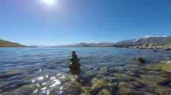 Beautiful Scenic View Of Lake Tekapo In Autumn - stock footage