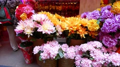 Artificial flowers market stall, colorful phloxes and chrysanthemums Stock Footage
