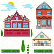 Vector flat illustration. Set of urban and village elements. - stock illustration