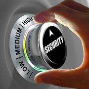 Hand rotating a button and selecting the level of security. - stock illustration