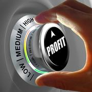 Hand rotating a button and selecting the level of profit. - stock illustration