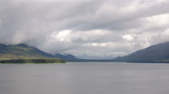 Ocean Bay Mountains Mists and Forests in Alaska Stock Footage
