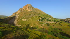 AERIAL of MOUNT ARBEL, SEA OF GALILEE Stock Footage