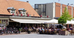 Cafe with terrace at village Netherlands, hospitality, 4K Stock Footage