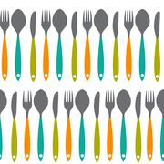 Fork, Knife and Spoon Seamless Pattern Vector Illustration - stock illustration