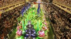 """Samba School """"Unidos da Tijuca"""" at the anual carnival Parade in Rio de Janeiro Stock Footage"""