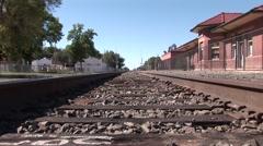 Looking Down Empty Train Tracks Stock Footage