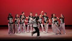 Break dancers on stage Stock Footage