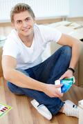 Guy with palette - stock photo