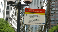 Westferry circus street sign Stock Footage