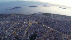 Suburban life from the air at crowded city of Istanbul. Upside down, Aerial view - stock footage
