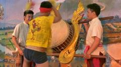 Drummer in a folk show, Thailand Stock Footage
