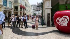 Tourists visiting the historic center of Macao Stock Footage