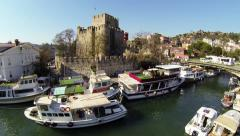 Anatolian Castle and Goksu River. Aerial Stock Footage