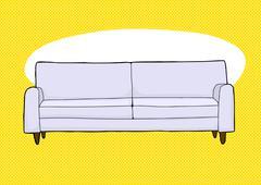 Gray Sofa Over Yellow Stock Illustration