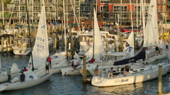 4K Annapolis Sailboats Return from Racing 7 Stock Footage