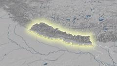 Stock Video Footage of Nepal outlined and glowed. Neighbourhood. Elevation