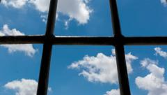 Dolly shot of view trough prison window, Time lapse,4k Stock Footage