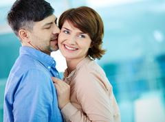 Flirty kiss - stock photo