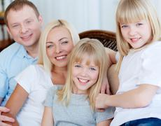 Family of four Stock Photos