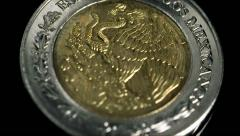 Mexican Peso Coin Eagle Slow Motion Stock Footage