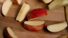 Apple Slices Fall Slow Motion Stock Footage