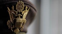 American USAAF Eagle Emblem   World War 2   Rack Focus Stock Footage