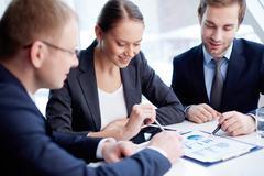 Discussing document Stock Photos