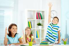 Answering at lesson Stock Photos