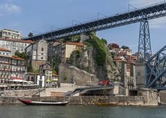 Portugal, Porto. The Luis I bridge  is a metal arch bridge - stock photo