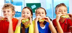 Lunch in school - stock photo