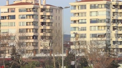 Typical irregular suburban architecture with lined up buildings Stock Footage
