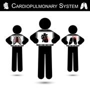 Cardiopulmonary System .  Human hold monitor screen and show imaging of Skele - stock illustration