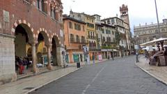 4k Tourists walking POV on visit at Verona Ebre Square Stock Footage