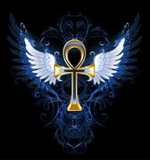 Gold ankh - stock illustration