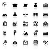 Mortgage and home loan icons with reflect on white background Piirros