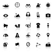 Waterway related icons with reflect on white background Stock Illustration