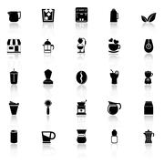 Coffee and tea icons with reflect on white background Stock Illustration